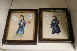 Two Chinese figural paintings.