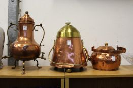 Three Dutch copper items.