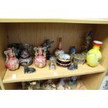 Various decorative china, glass and other ornamental items.