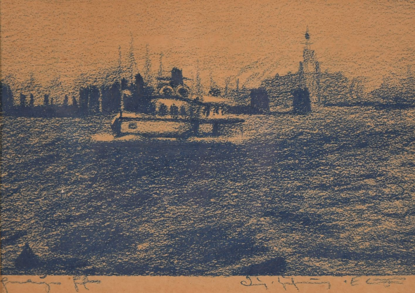 "A pair of prints of port scenes, 5.5"" x 8""."