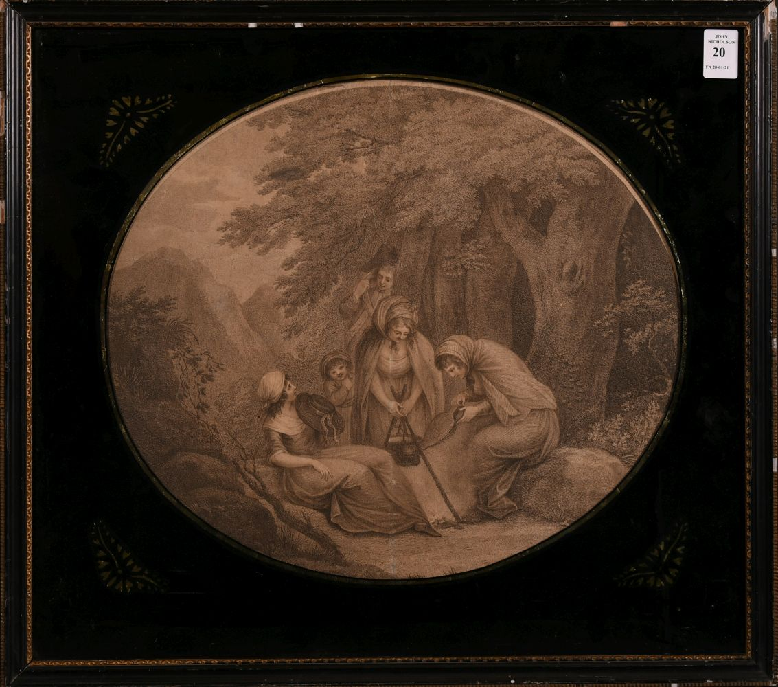 """18th century scene of figures cooking around a campfire, print, verre eglomise frame, 12"""" x 14"""", - Image 2 of 3"""