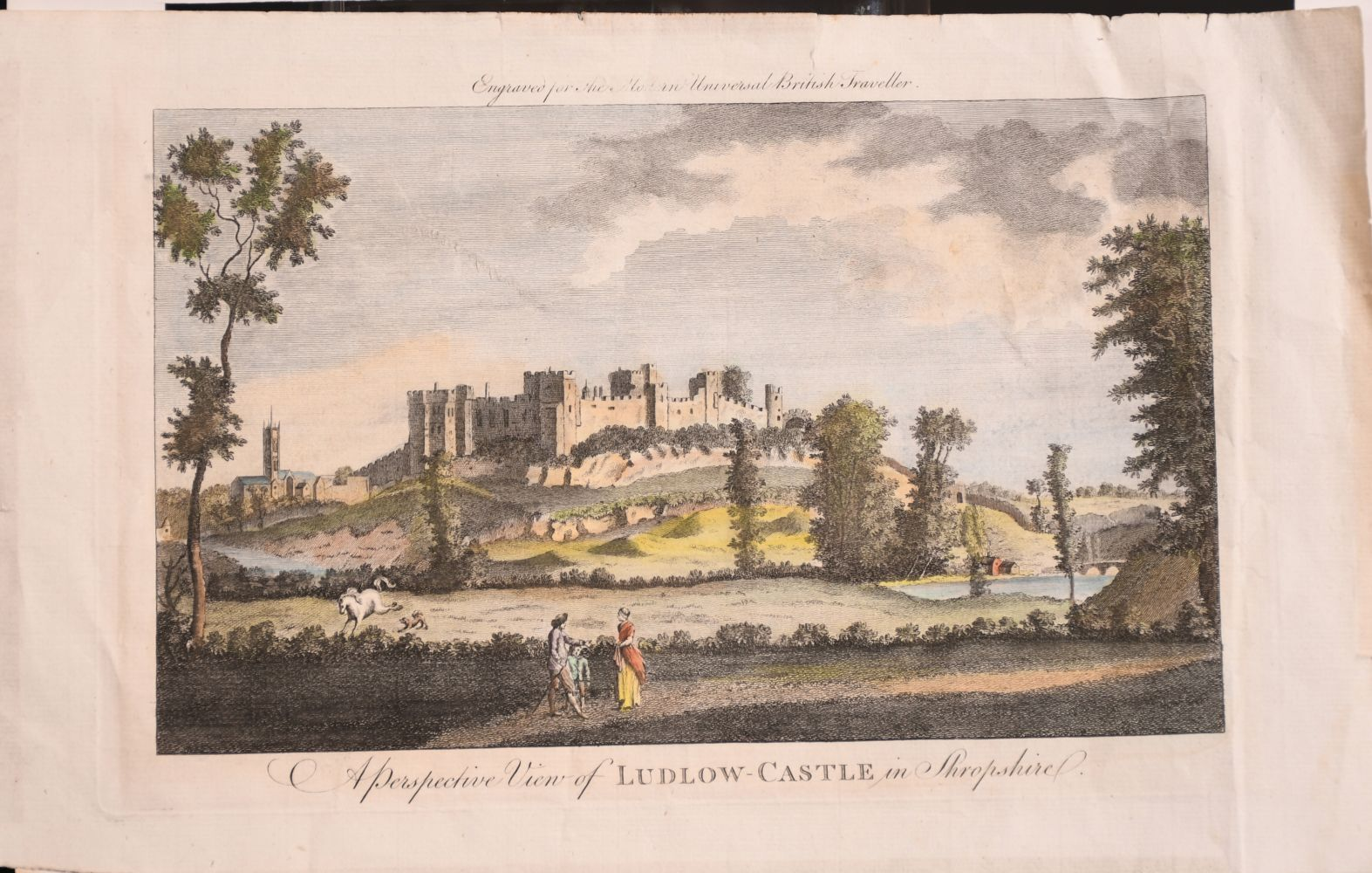 """A Perspective View of Ludlow Castle in Shropshire'. A Coloured Print, Unframed, 6"""" x 10.5"""". With - Image 2 of 6"""