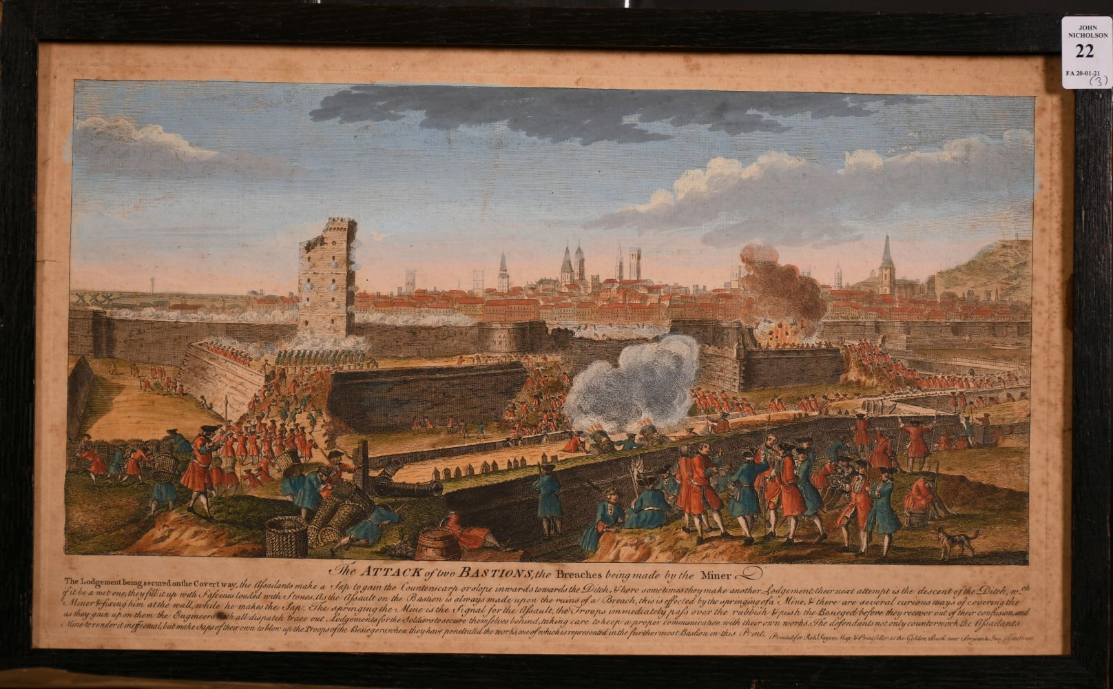 "A set of three 18th century hand-coloured prints of sieges, ""The Attack of Two Bastions"" and two - Image 3 of 4"