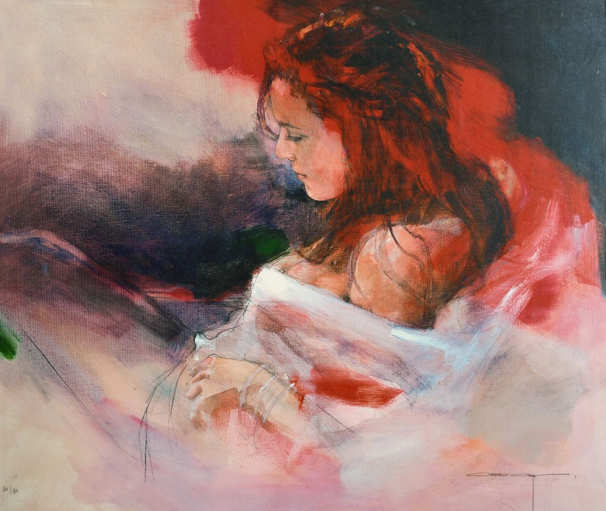 """After Christine Comyn, a print of a reclining female figure, signed and numbered in pencil 30"""" x"""