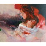 "After Christine Comyn, a print of a reclining female figure, signed and numbered in pencil 30"" x"