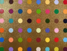 Damien Hirst, (B. 1965), untitled gold gift spot, framed screenprint in colours, gold glitter/