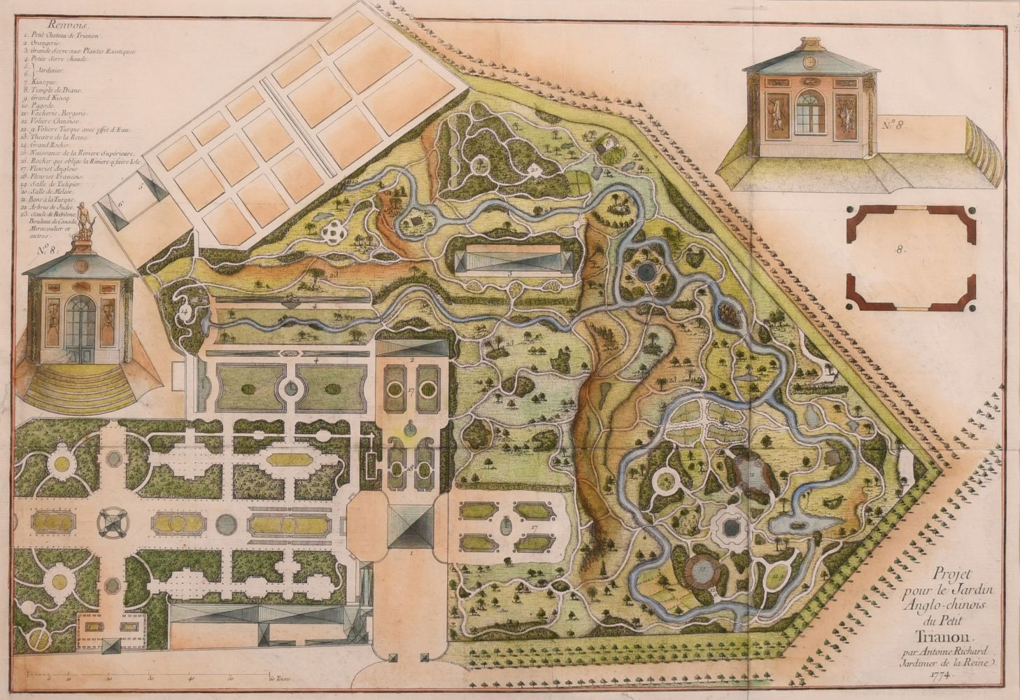 "18th century hand coloured engraving of ""Projet pour le Jardin Anglo-Chinois du Petit Trianon par"