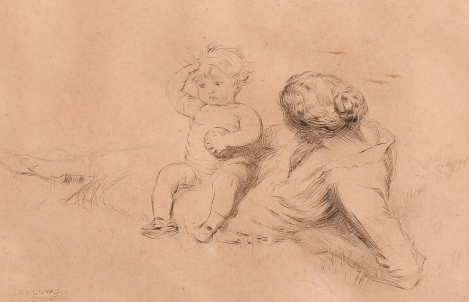 "John Henry Dowd (1883-1956) British, An etching of a mother and child, signed in pencil, 4"" x 6"","
