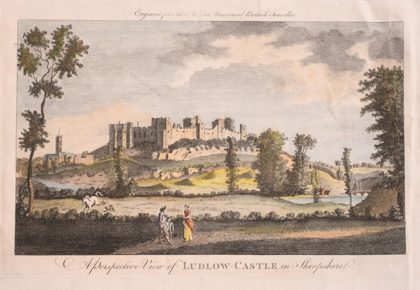 """A Perspective View of Ludlow Castle in Shropshire'. A Coloured Print, Unframed, 6"""" x 10.5"""". With"""