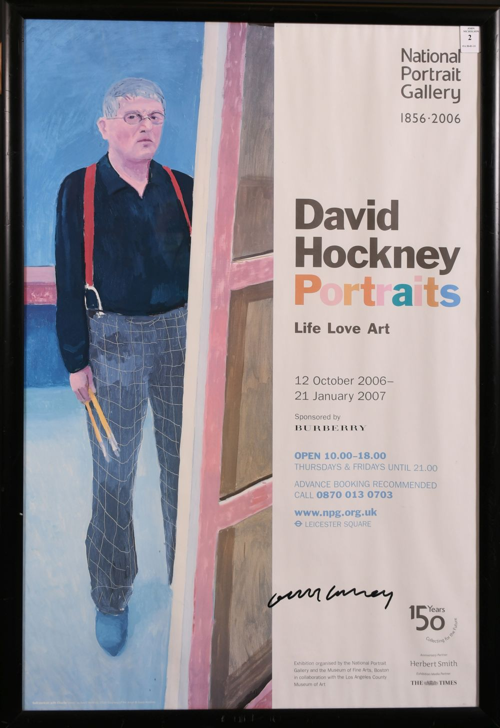 "David Hockney, A signed exhibition poster from the national portrait gallery, 30"" x 20"" - Image 2 of 4"