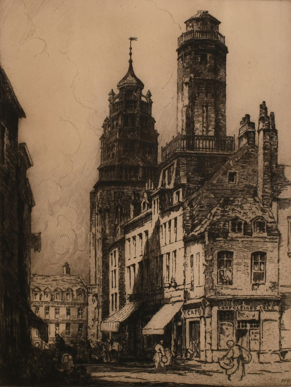 """Andrew Affleck (1869-1935) British 'Towers of Calais' etching, signed in pencil 16""""x12"""""""