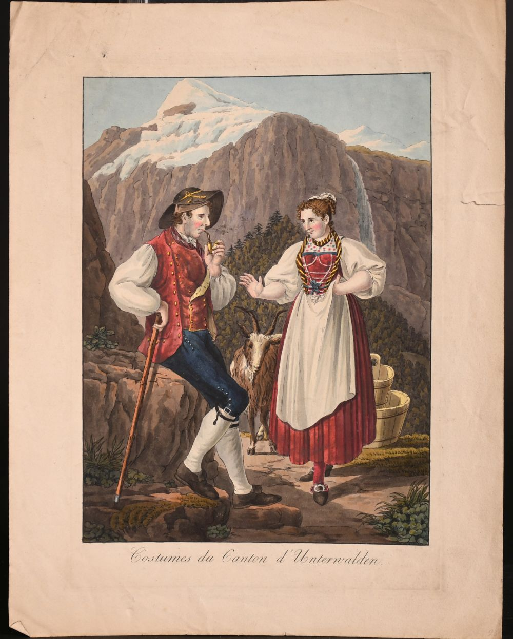 A collection of seven 19th century Swiss hand coloured prints of regional costumes, two of them - Image 8 of 9