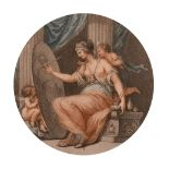 """Two 19th century, coloured engravings in verre eglomise frames, 7"""" x 7"""" diameter and 6"""" x 8"""" oval,"""