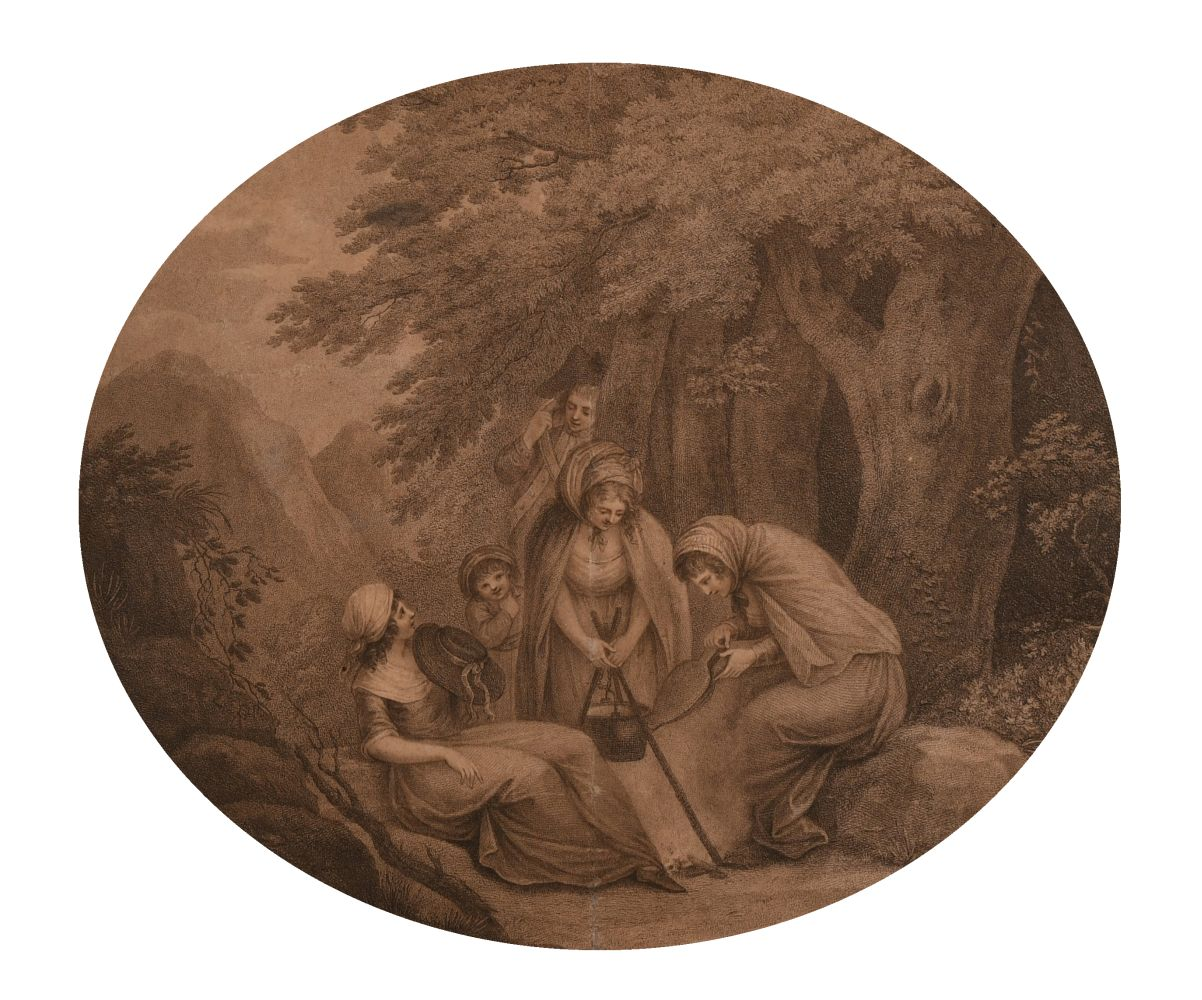 """18th century scene of figures cooking around a campfire, print, verre eglomise frame, 12"""" x 14"""","""