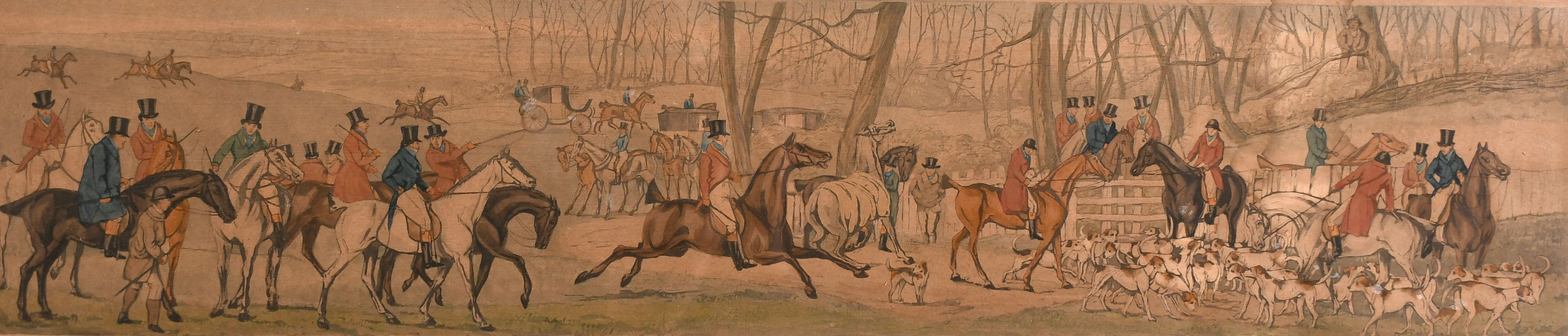 """After H. Alken, 'Leicestershire covers 1820' a set of four hunting prints, each 5"""" x 23.5""""."""