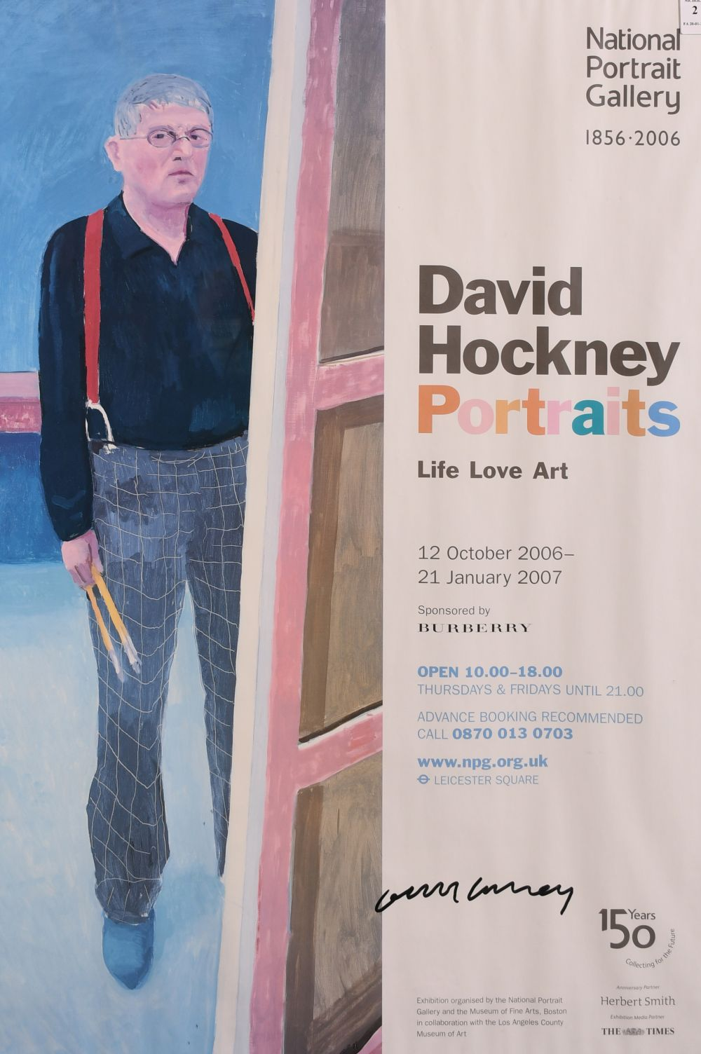 "David Hockney, A signed exhibition poster from the national portrait gallery, 30"" x 20"""