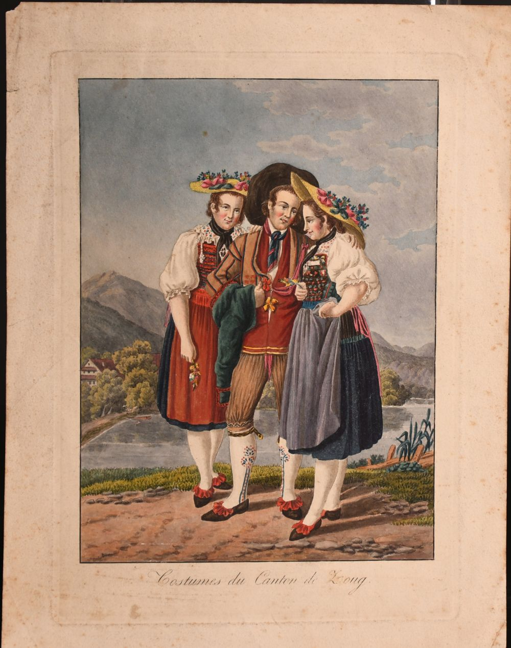A collection of seven 19th century Swiss hand coloured prints of regional costumes, two of them - Image 9 of 9