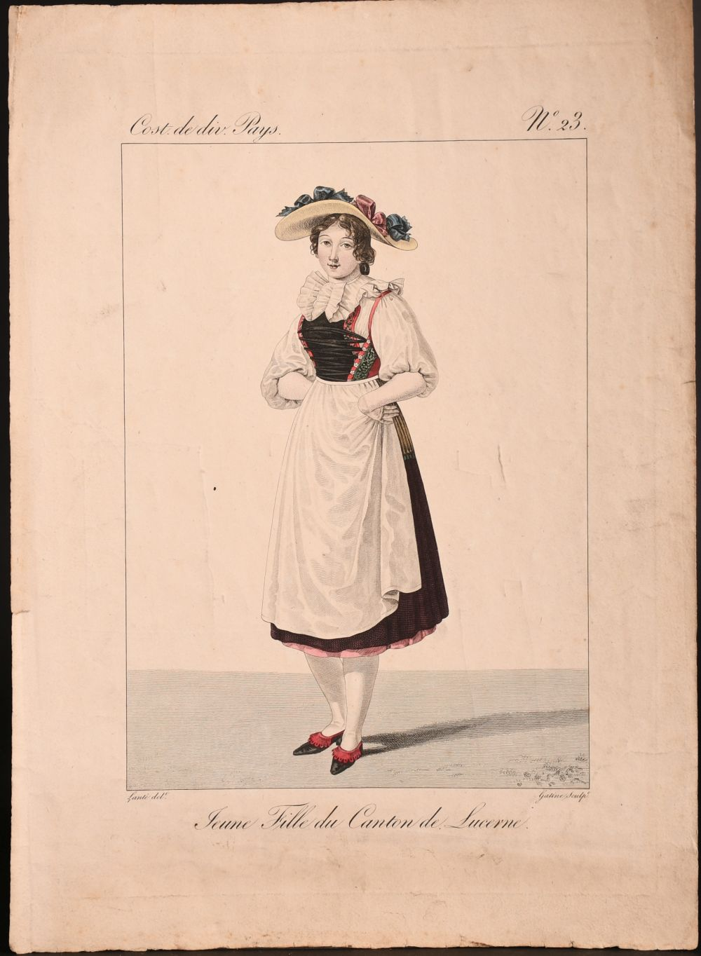 A collection of seven 19th century Swiss hand coloured prints of regional costumes, two of them - Image 7 of 9