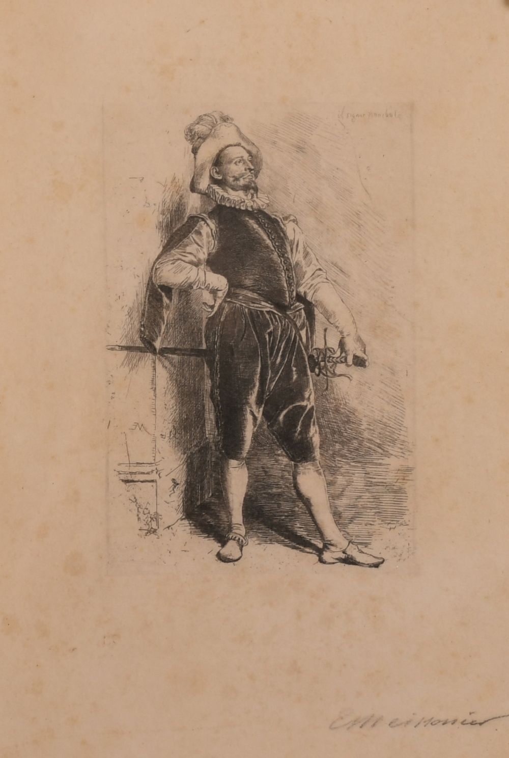 Ernest Meissonier (1815-1891) French, A pair of etchings of gallant cavaliers, signed in pencil,