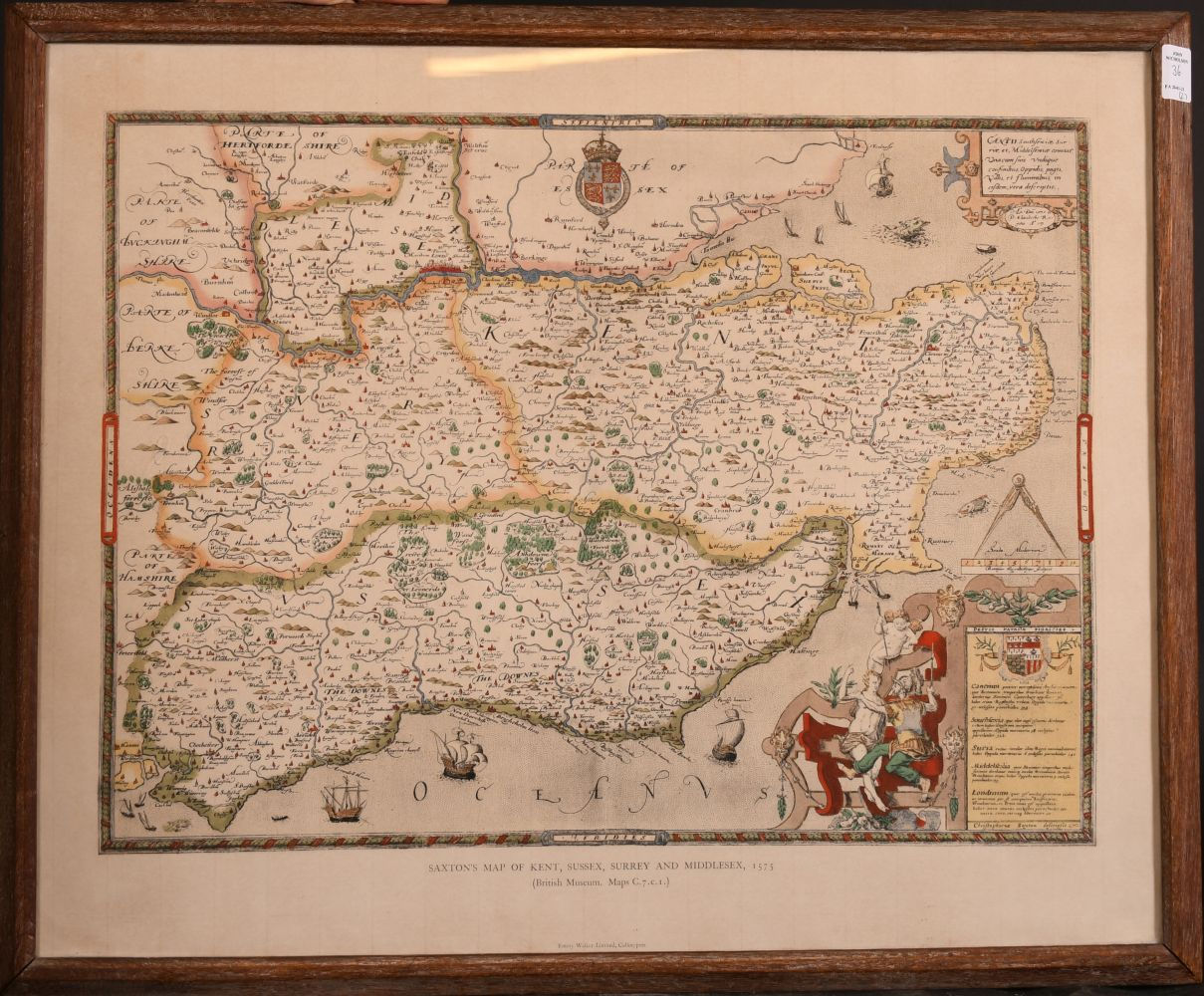 After Sir Thomas Lawrence, 'the Countess of Wilton', and a later copy of Saxtons map of Kent, - Image 4 of 4