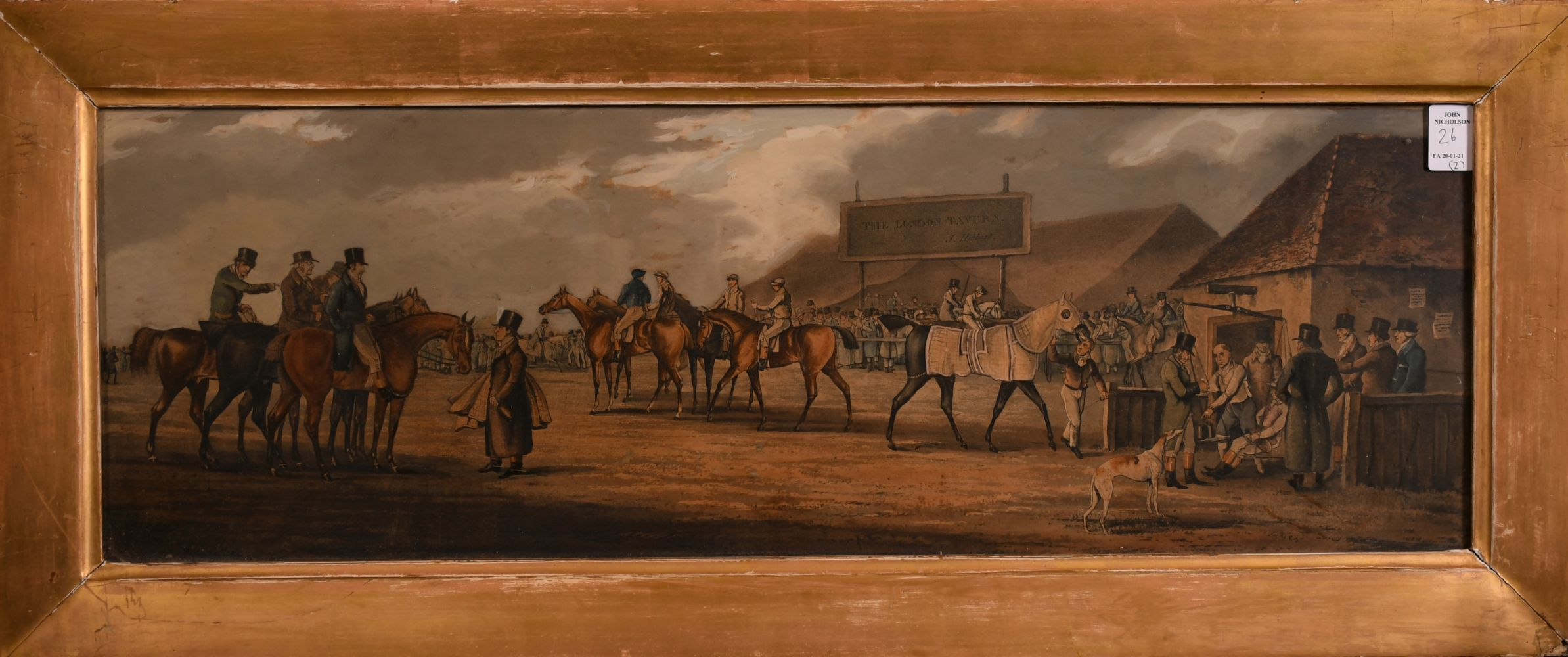 """A pair of 19th century coloured prints of horse meetings, each 8.5"""" x 26"""". - Image 4 of 4"""