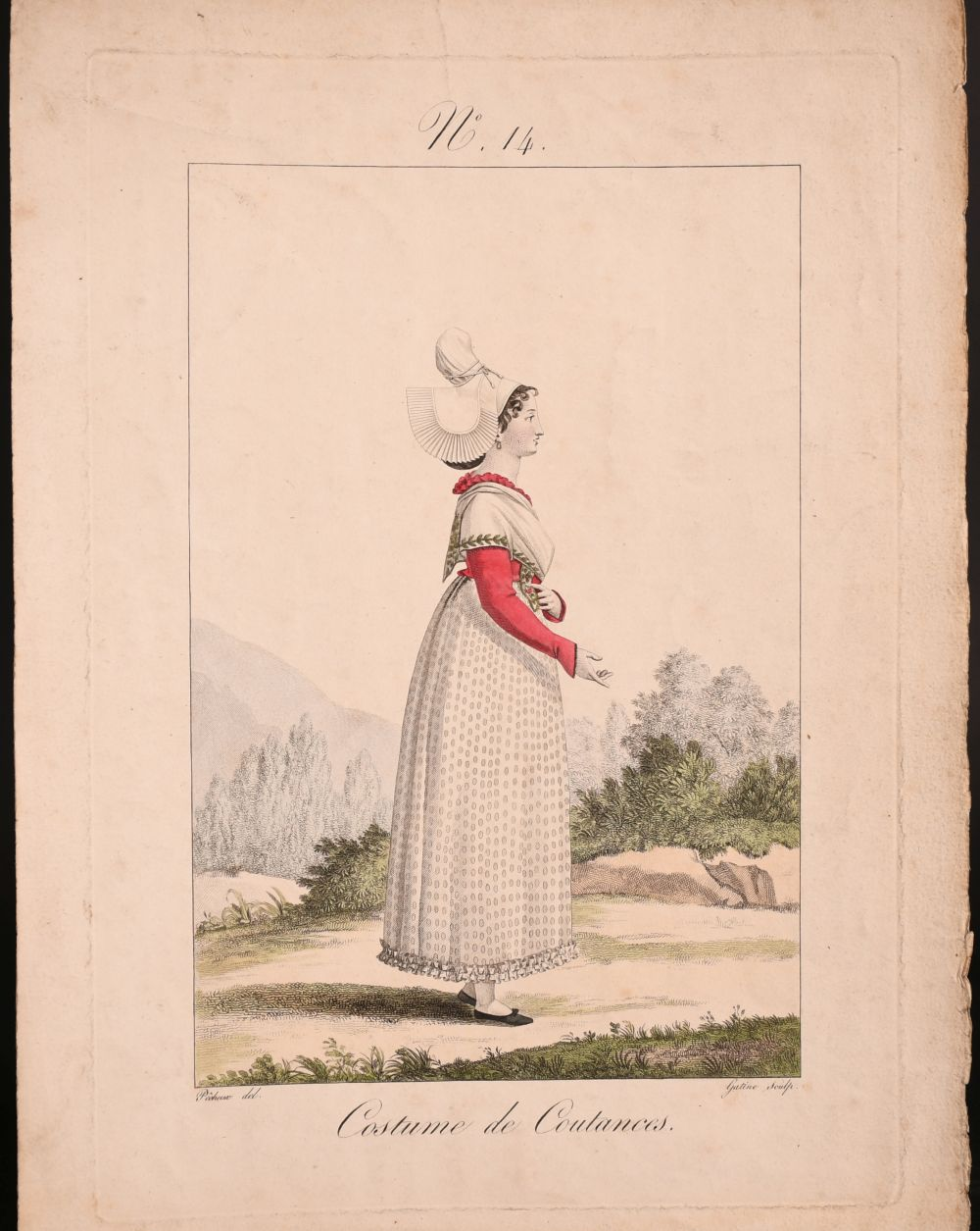 A collection of seven 19th century Swiss hand coloured prints of regional costumes, two of them - Image 2 of 9