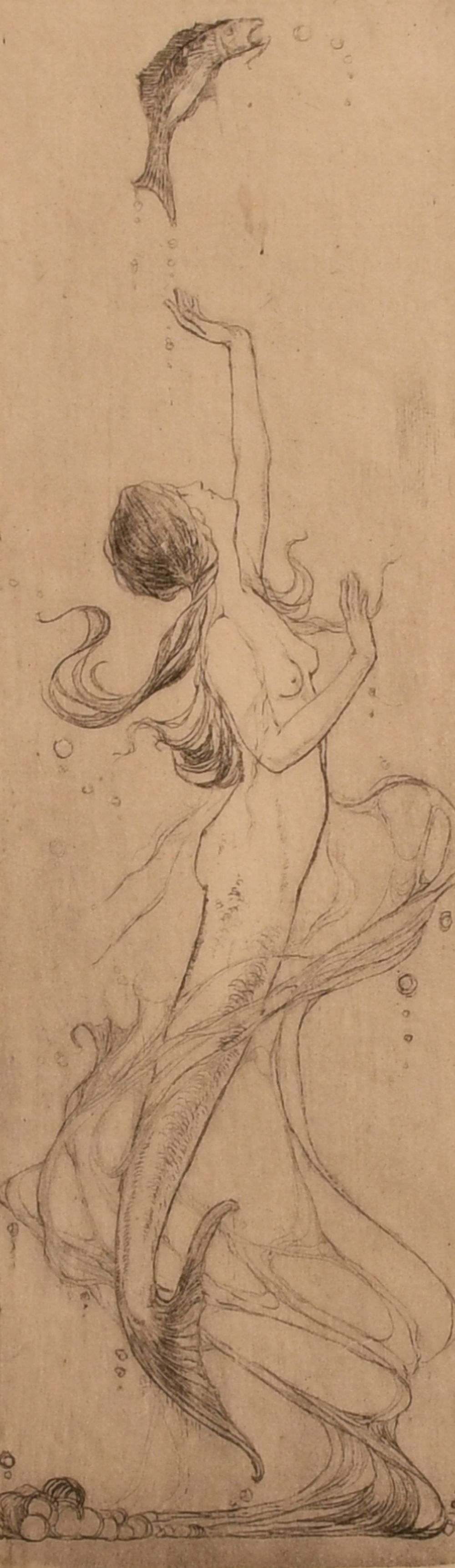 """An art nouveau etching of a mermaid with a fish, indistinctly signed in pencil, 7.5"""" x 2.5""""."""