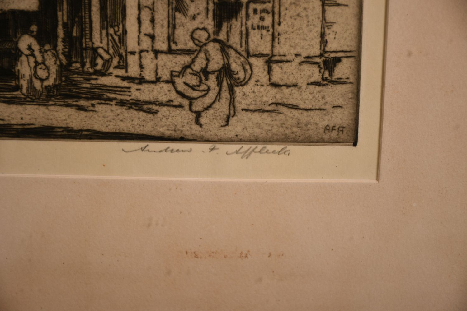 """Andrew Affleck (1869-1935) British 'Towers of Calais' etching, signed in pencil 16""""x12"""" - Image 3 of 4"""