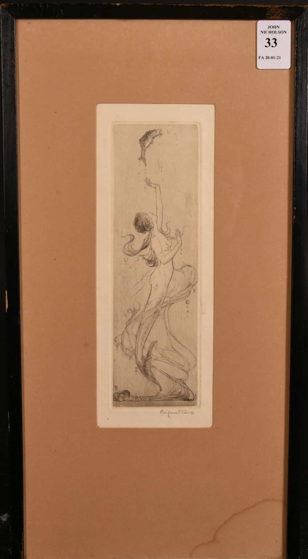 """An art nouveau etching of a mermaid with a fish, indistinctly signed in pencil, 7.5"""" x 2.5"""". - Image 2 of 4"""