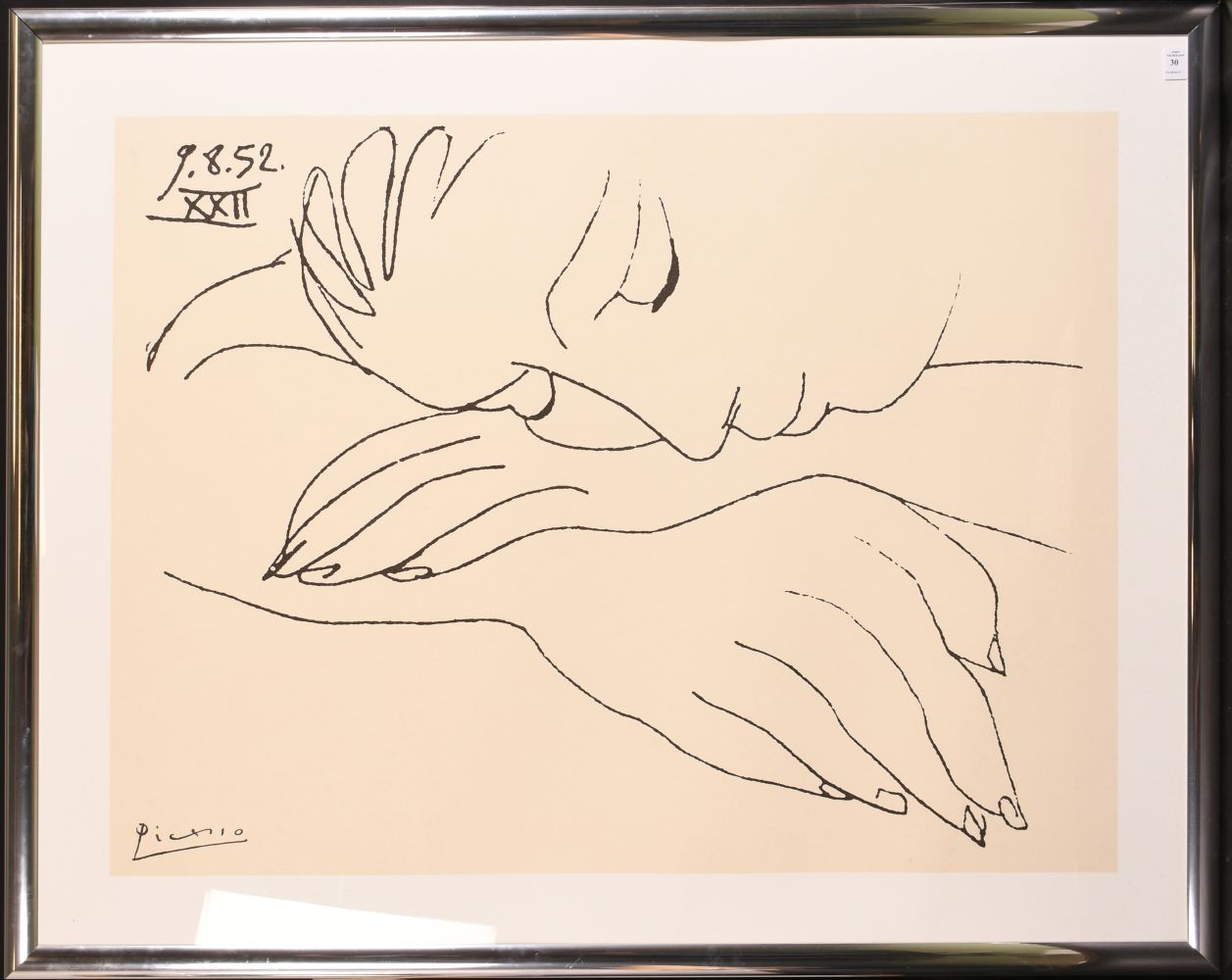 """A Picasso Print, 'War and Peace', a study of a resting woman, 29"""" x 39"""". - Image 2 of 3"""