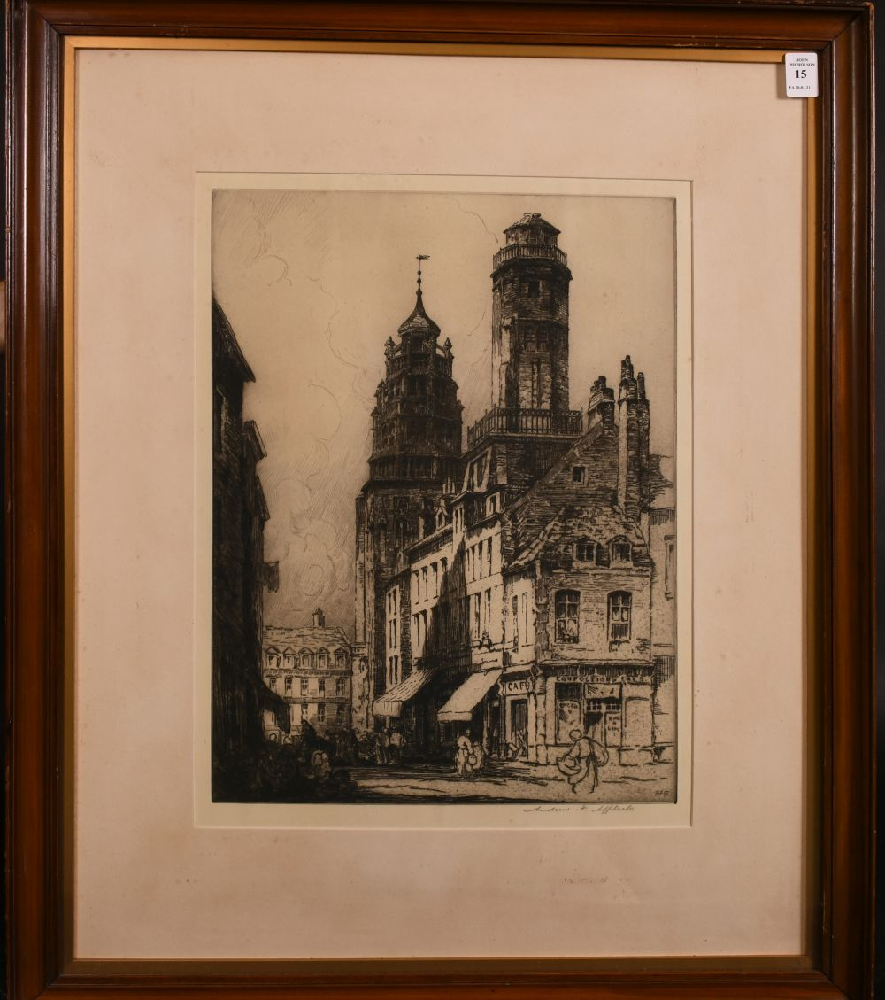 """Andrew Affleck (1869-1935) British 'Towers of Calais' etching, signed in pencil 16""""x12"""" - Image 2 of 4"""