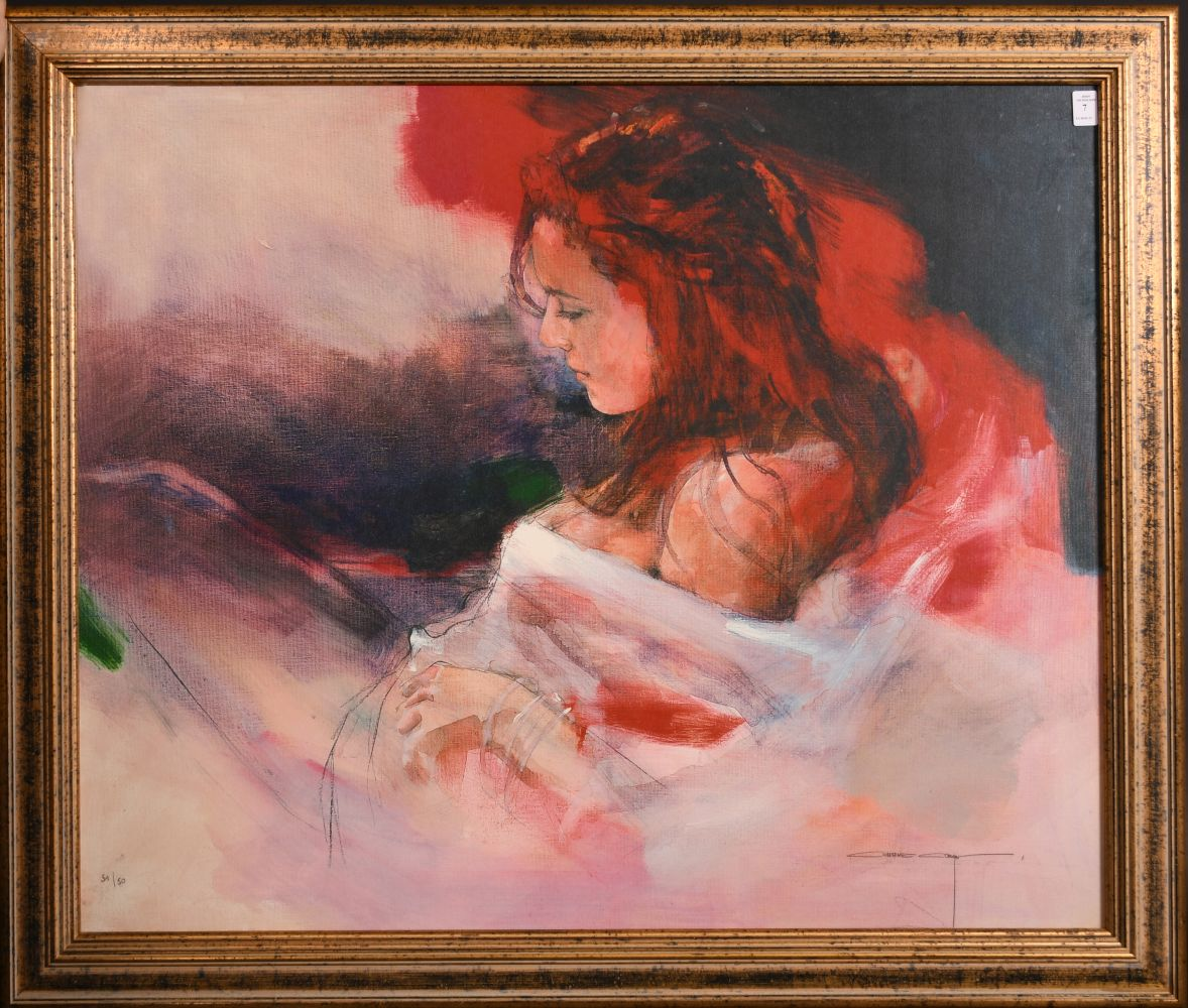 """After Christine Comyn, a print of a reclining female figure, signed and numbered in pencil 30"""" x - Image 2 of 4"""