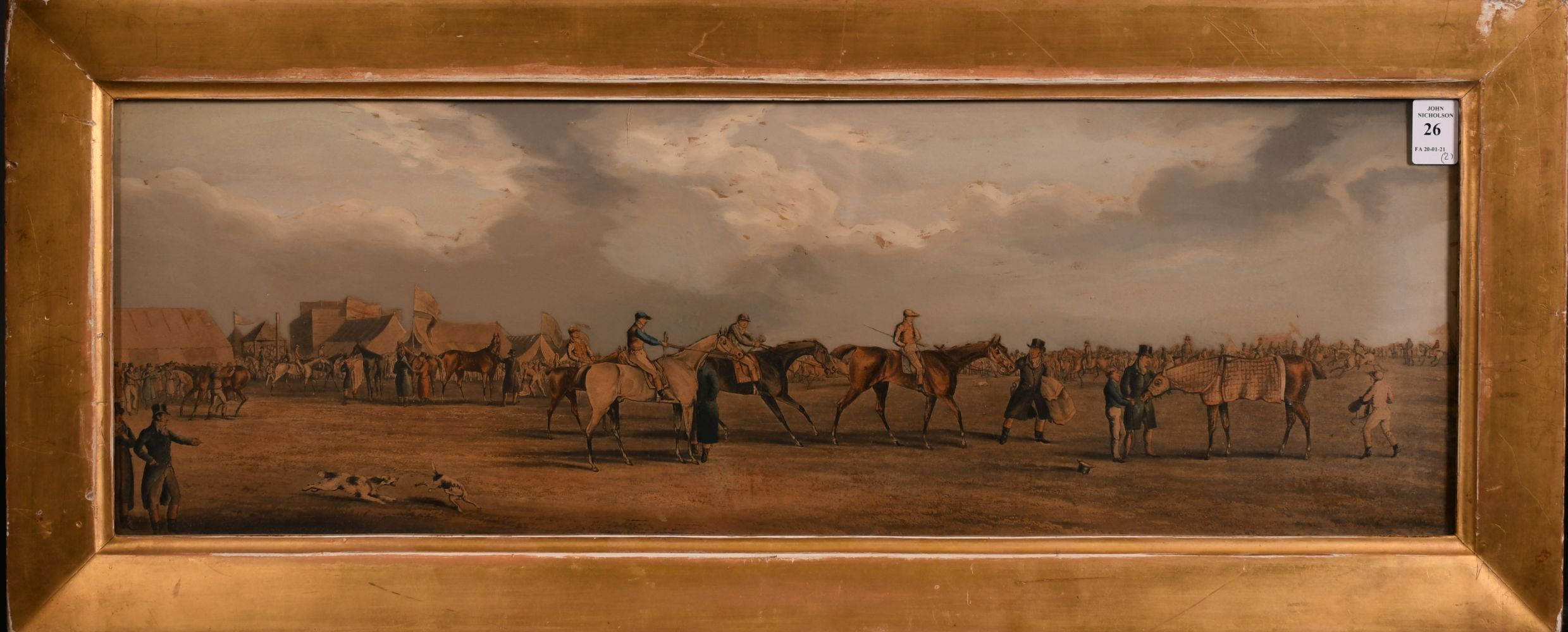 """A pair of 19th century coloured prints of horse meetings, each 8.5"""" x 26"""". - Image 2 of 4"""