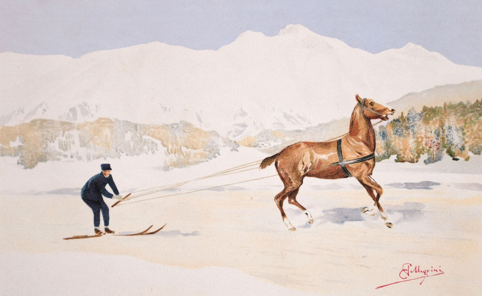 Carlo Pellegrini (1839-1889) Italian, 'Skijoring', A figure on skis being pulled behind a horse,