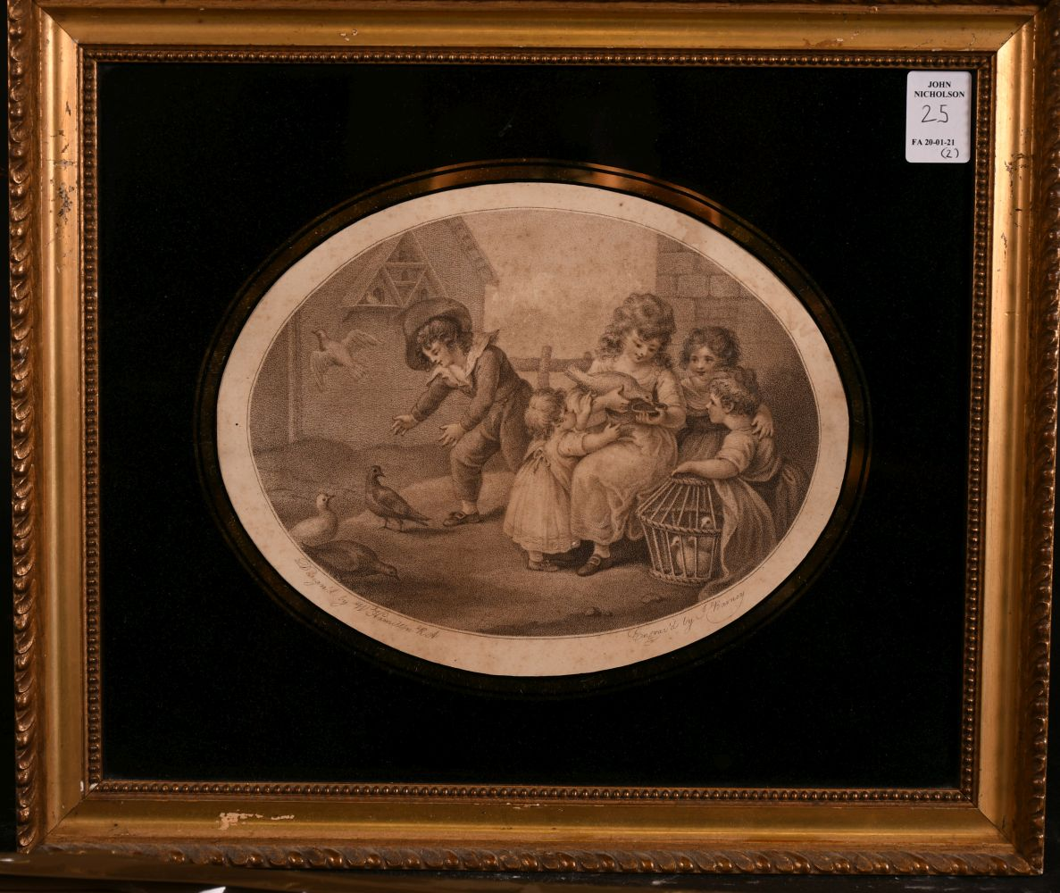 """Two 19th century, coloured engravings in verre eglomise frames, 7"""" x 7"""" diameter and 6"""" x 8"""" oval, - Image 4 of 5"""
