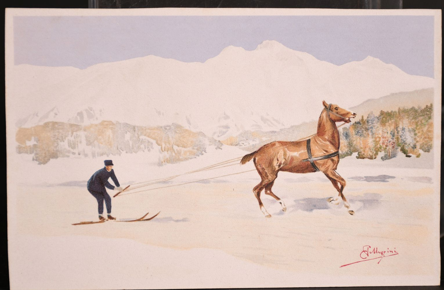 Carlo Pellegrini (1839-1889) Italian, 'Skijoring', A figure on skis being pulled behind a horse, - Image 2 of 4