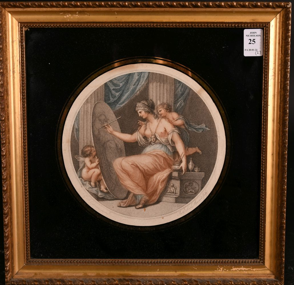 """Two 19th century, coloured engravings in verre eglomise frames, 7"""" x 7"""" diameter and 6"""" x 8"""" oval, - Image 2 of 5"""
