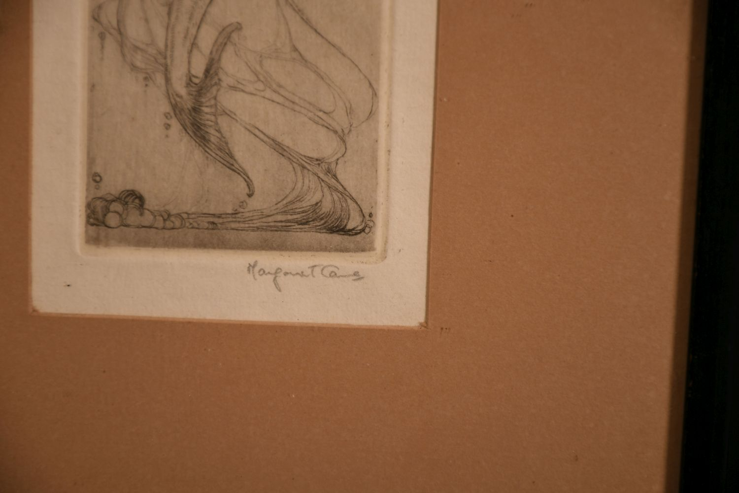 """An art nouveau etching of a mermaid with a fish, indistinctly signed in pencil, 7.5"""" x 2.5"""". - Image 3 of 4"""