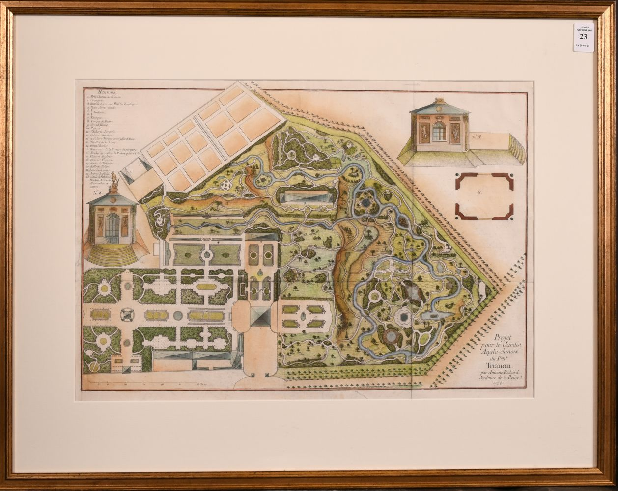 """18th century hand coloured engraving of """"Projet pour le Jardin Anglo-Chinois du Petit Trianon par - Image 2 of 3"""