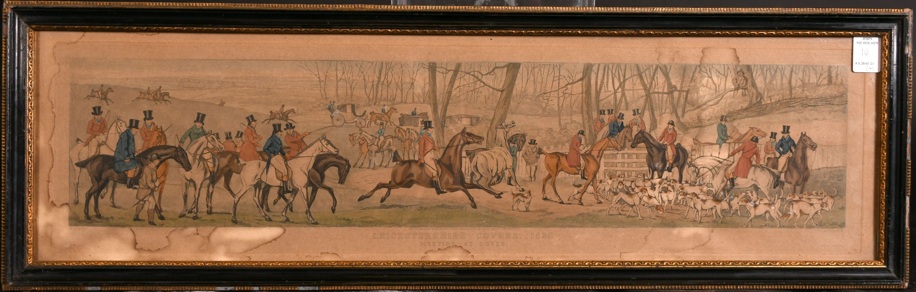 """After H. Alken, 'Leicestershire covers 1820' a set of four hunting prints, each 5"""" x 23.5"""". - Image 2 of 5"""