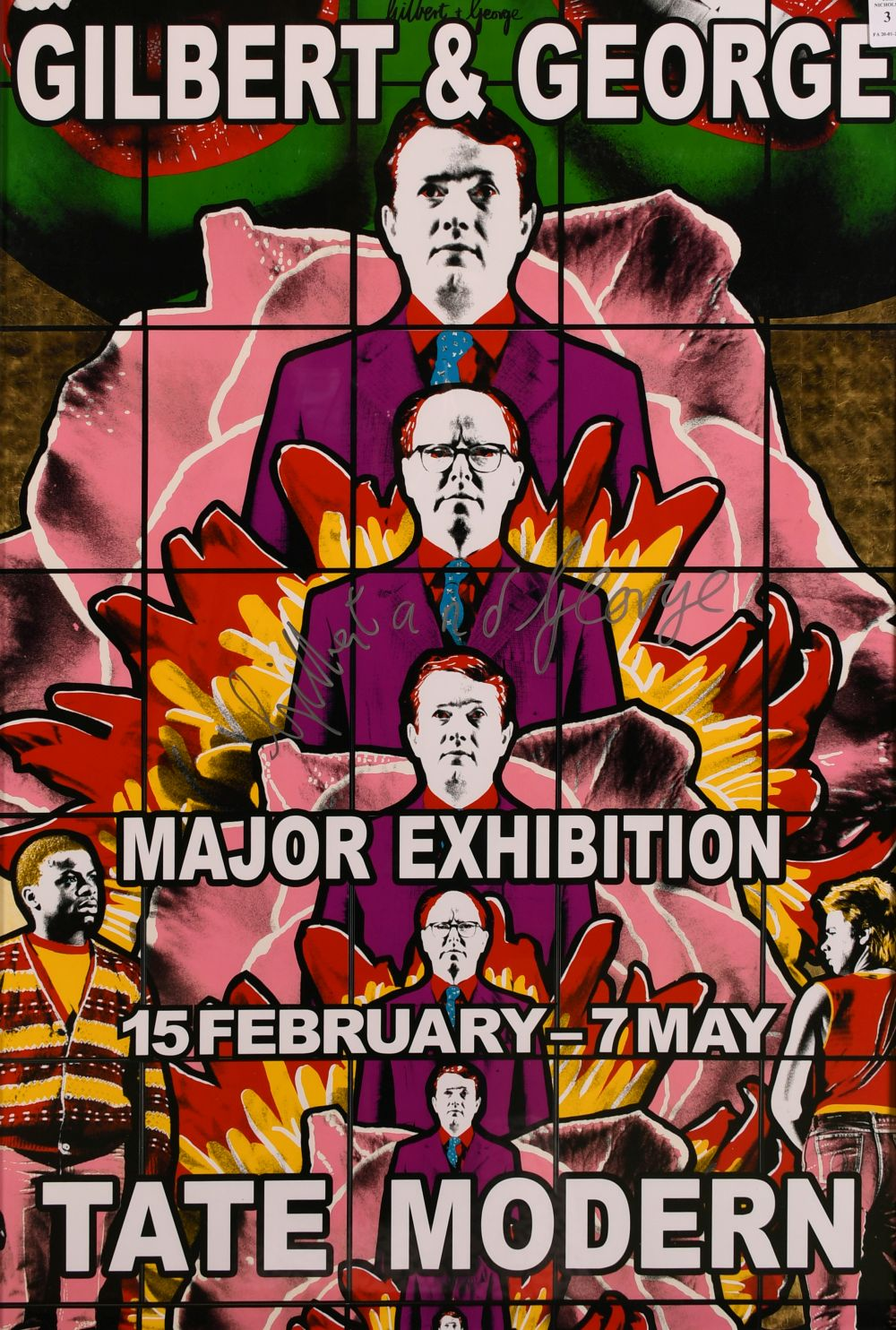"""Gilbert & George, A signed exhibition poster from the Tate Modern, 30"""" x 20""""."""