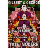 "Gilbert & George, A signed exhibition poster from the Tate Modern, 30"" x 20""."