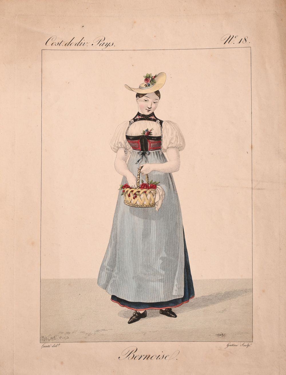 A collection of seven 19th century Swiss hand coloured prints of regional costumes, two of them - Image 4 of 9