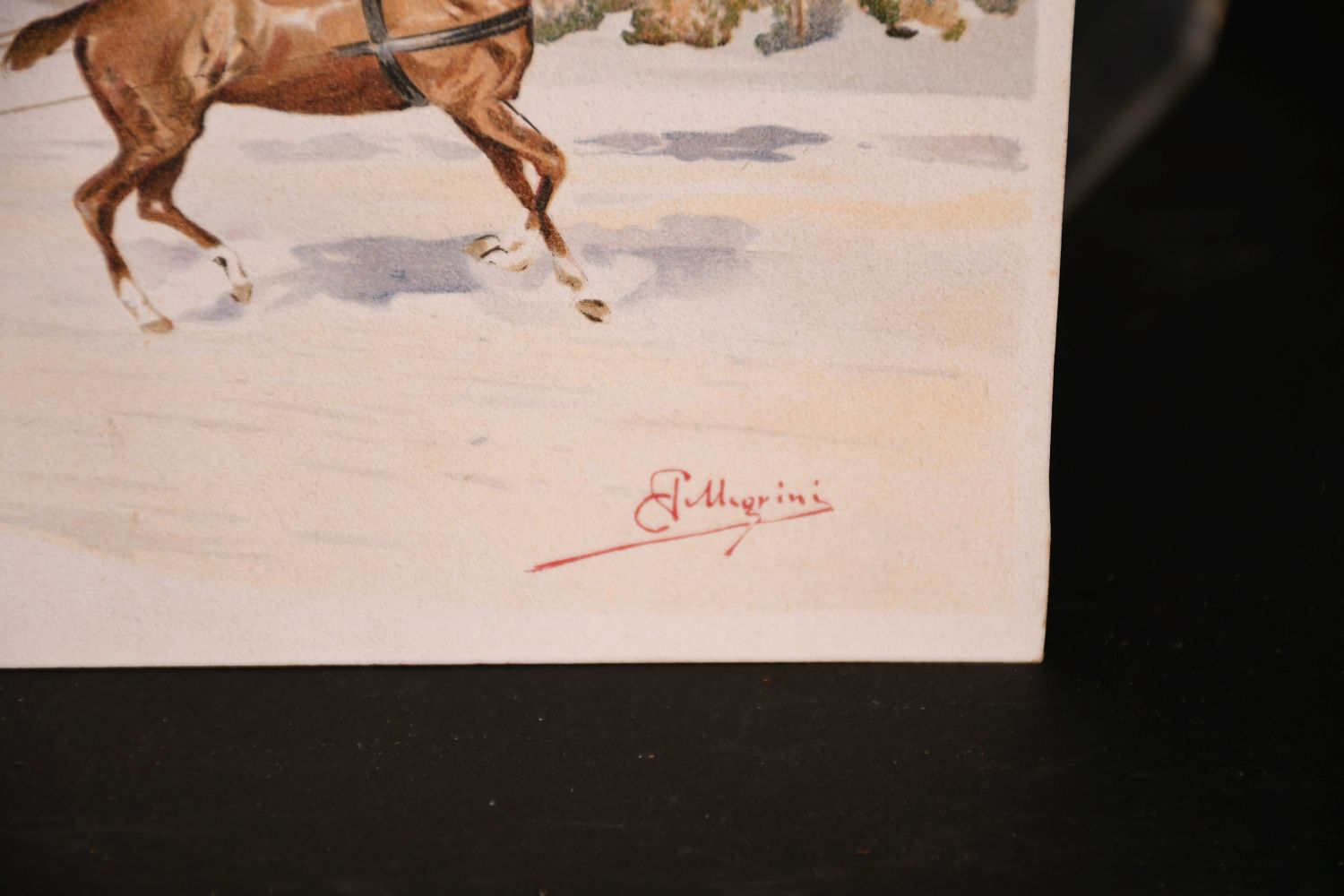 Carlo Pellegrini (1839-1889) Italian, 'Skijoring', A figure on skis being pulled behind a horse, - Image 3 of 4
