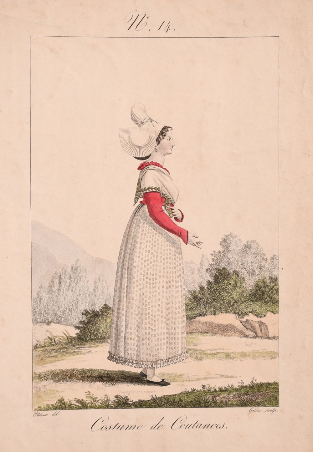 A collection of seven 19th century Swiss hand coloured prints of regional costumes, two of them