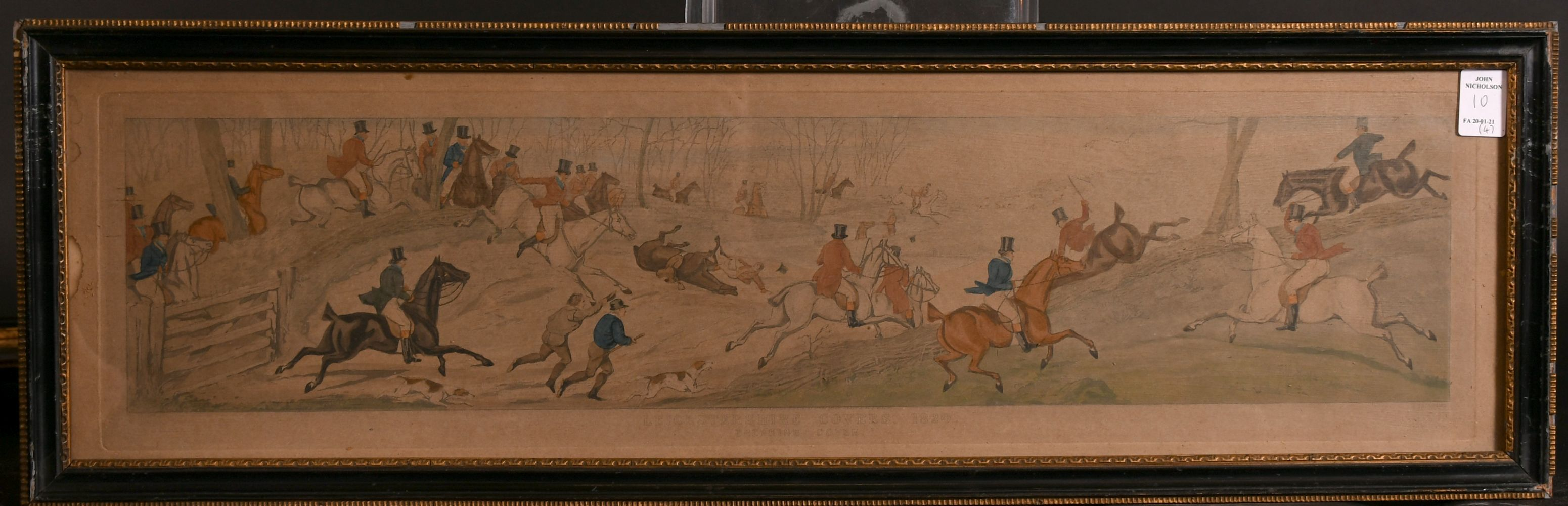 """After H. Alken, 'Leicestershire covers 1820' a set of four hunting prints, each 5"""" x 23.5"""". - Image 4 of 5"""