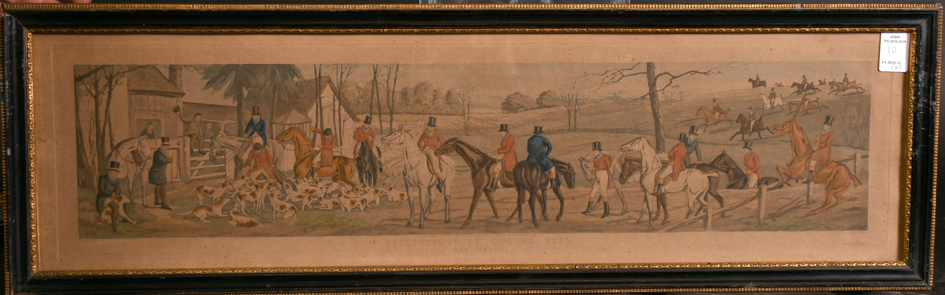"""After H. Alken, 'Leicestershire covers 1820' a set of four hunting prints, each 5"""" x 23.5"""". - Image 3 of 5"""