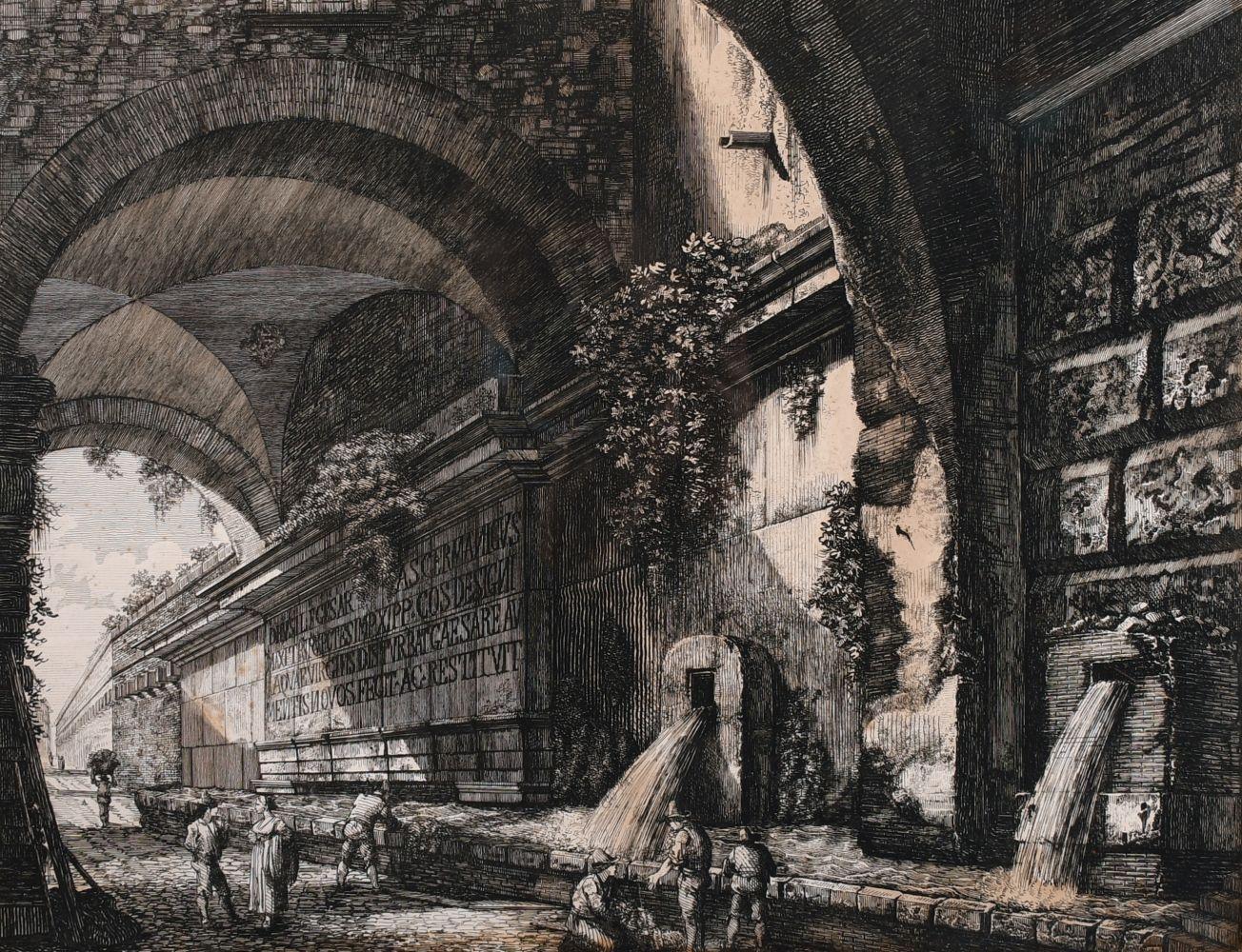 """Luigi Rossini (1790-1857) Italian, 'Veduta del Condotto Dell Acqua', engraving, circa 1822, 14"""" x"""