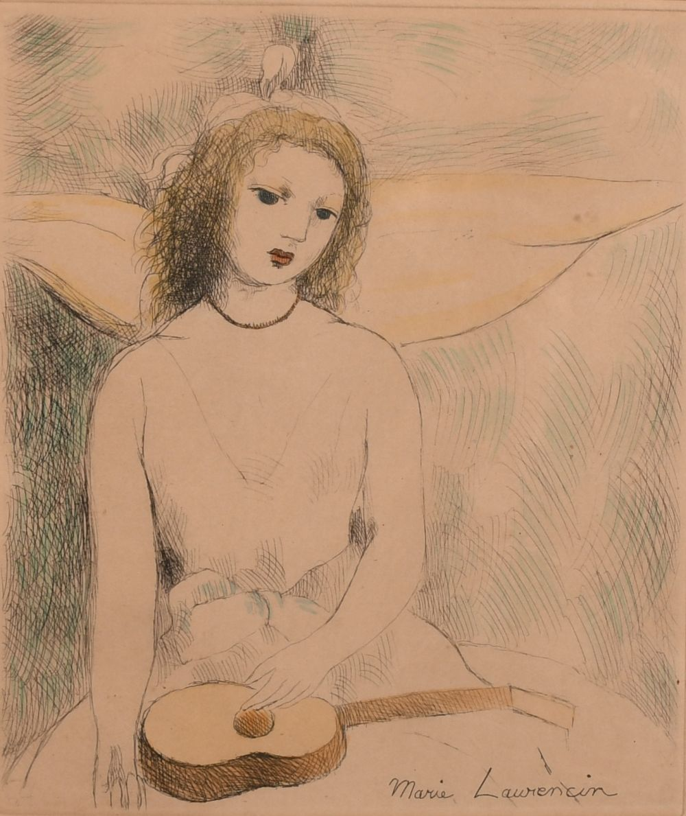 """Marie Laurencin (1883-1956) French, An etching of a seated lady, 8"""" x 6.5""""."""