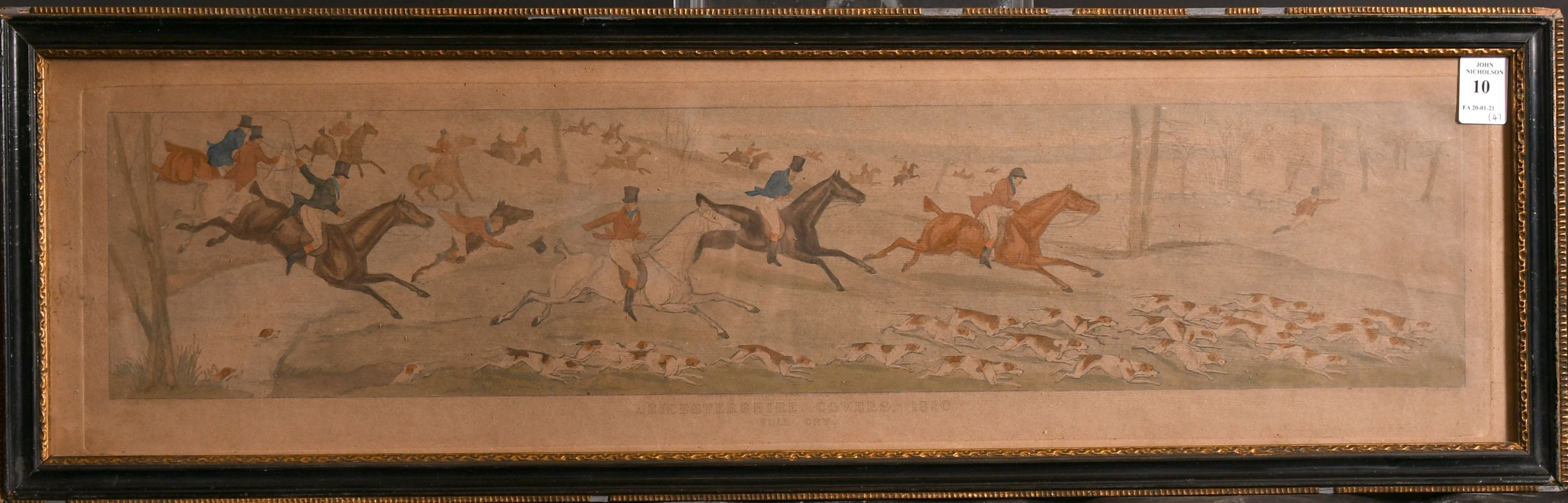 """After H. Alken, 'Leicestershire covers 1820' a set of four hunting prints, each 5"""" x 23.5"""". - Image 5 of 5"""